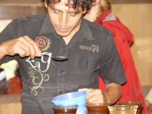 Roberto, cupping for the first time